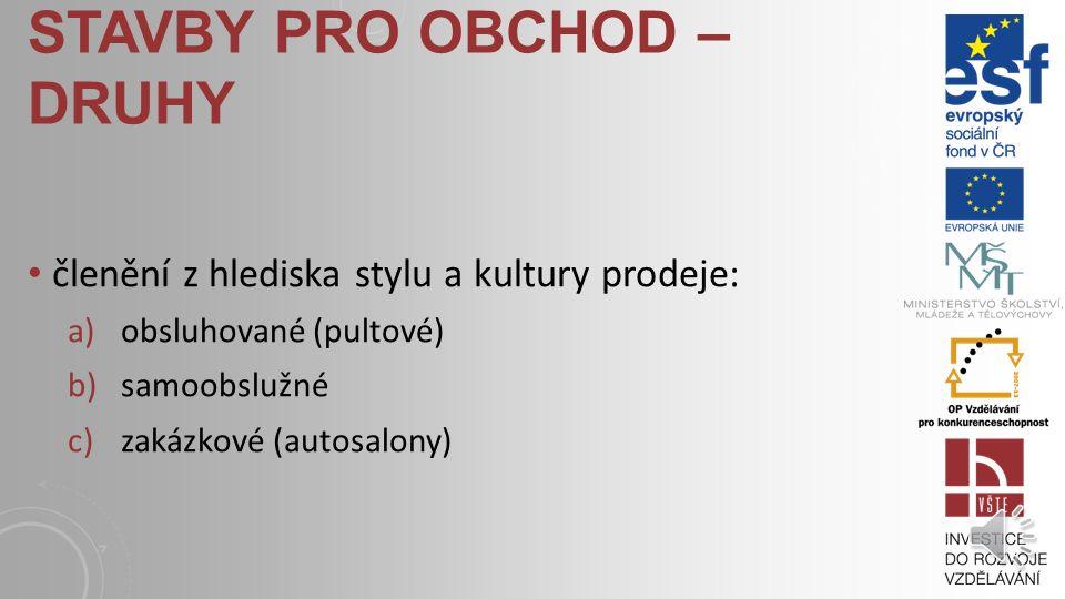 STAVBY PRO OBCHOD – DRUHY členění z hlediska sortimentu: a)jedno nebo malosortimentní prodejny (např. potraviny, obuv, drogerie, butiky, specializovan
