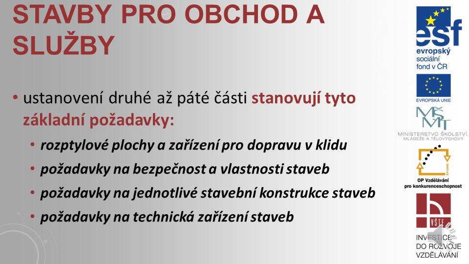 STAVBY PRO OBCHOD A SLUŽBY vyhláška č. 268/2009 Sb., o technických požadavcích na stavby, ve znění vyhlášky č. 20/2012 Sb., definuje stavbou pro obcho