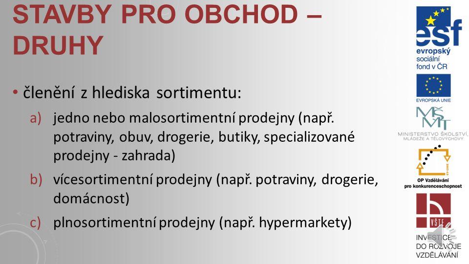 STAVBY PRO OBCHOD – DRUHY členění z hlediska velikosti: a)jednotlivé prodejny v samostatných objektech b)prodejní prostory ve stavbách jiného účelu, c