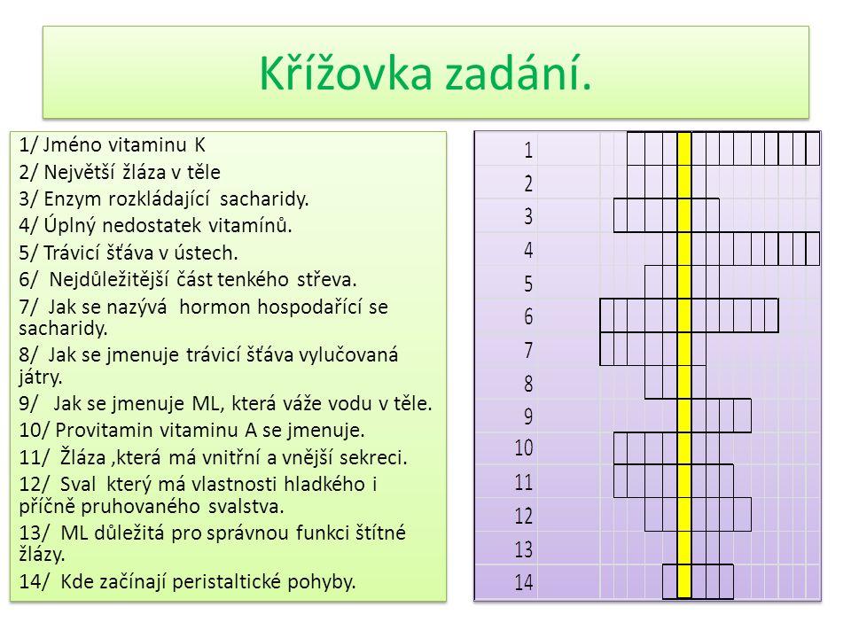Křížovka zadání. 1/ Jméno vitaminu K 2/ Největší žláza v těle 3/ Enzym rozkládající sacharidy.