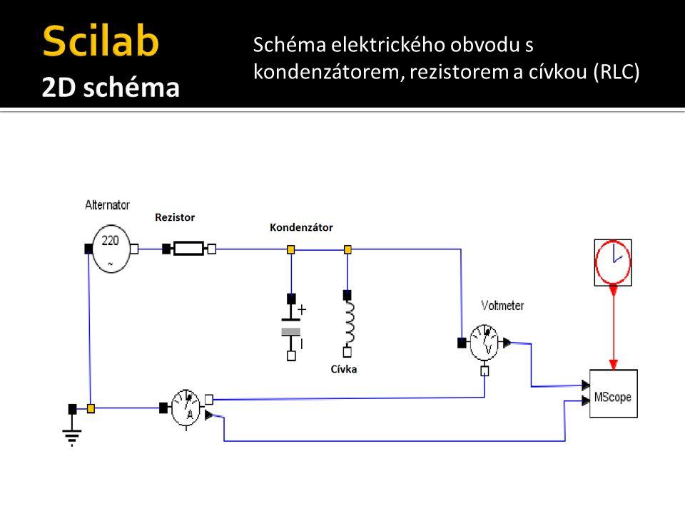 Schéma elektrického obvodu s kondenzátorem, rezistorem a cívkou (RLC)