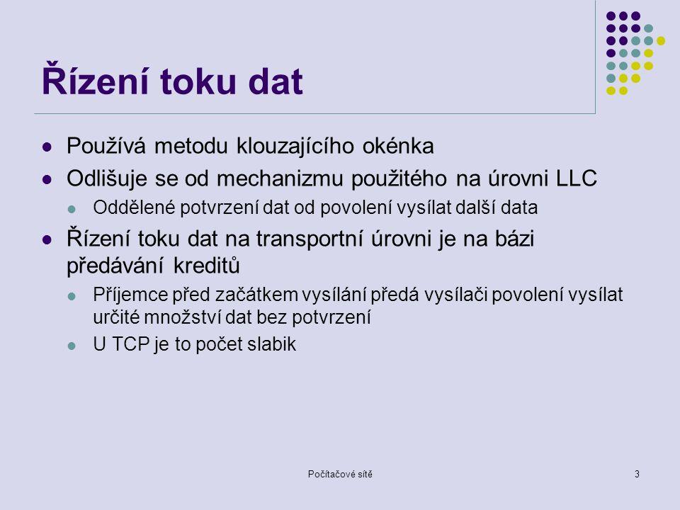Řízení toku dat Používá metodu klouzajícího okénka Odlišuje se od mechanizmu použitého na úrovni LLC Oddělené potvrzení dat od povolení vysílat další data Řízení toku dat na transportní úrovni je na bázi předávání kreditů Příjemce před začátkem vysílání předá vysílači povolení vysílat určité množství dat bez potvrzení U TCP je to počet slabik Počítačové sítě3