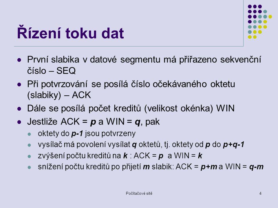 Řízení toku dat První slabika v datové segmentu má přiřazeno sekvenční číslo – SEQ Při potvrzování se posílá číslo očekávaného oktetu (slabiky) – ACK Dále se posílá počet kreditů (velikost okénka) WIN Jestliže ACK = p a WIN = q, pak oktety do p-1 jsou potvrzeny vysílač má povolení vysílat q oktetů, tj.