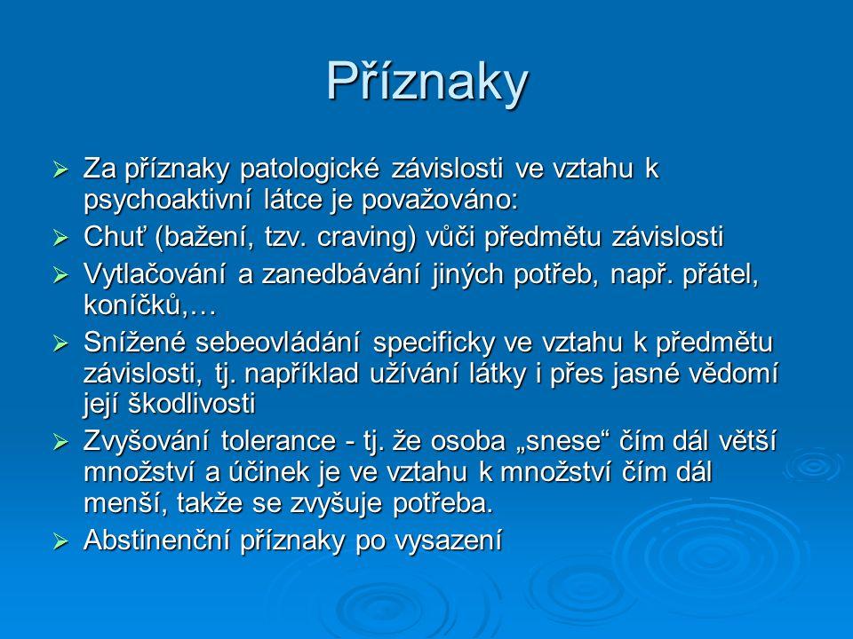 Příznaky  Za příznaky patologické závislosti ve vztahu k psychoaktivní látce je považováno:  Chuť (bažení, tzv. craving) vůči předmětu závislosti 