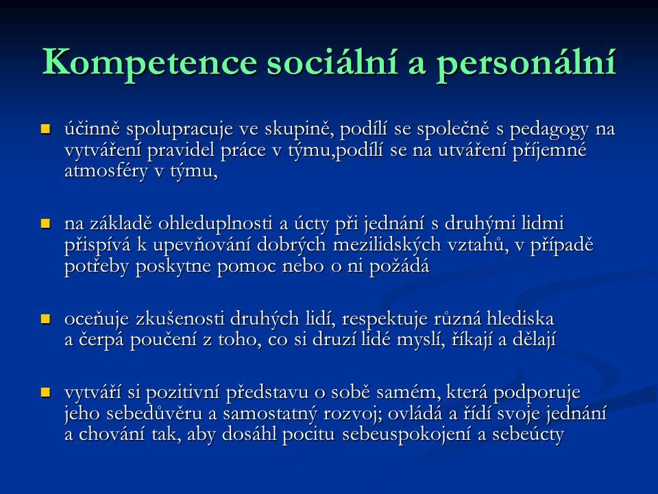 Kompetence sociální a personální účinně spolupracuje ve skupině, podílí se společně s pedagogy na vytváření pravidel práce v týmu,podílí se na utvářen