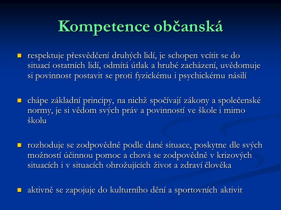 Kompetence občanská respektuje přesvědčení druhých lidí, je schopen vcítit se do situací ostatních lidí, odmítá útlak a hrubé zacházení, uvědomuje si