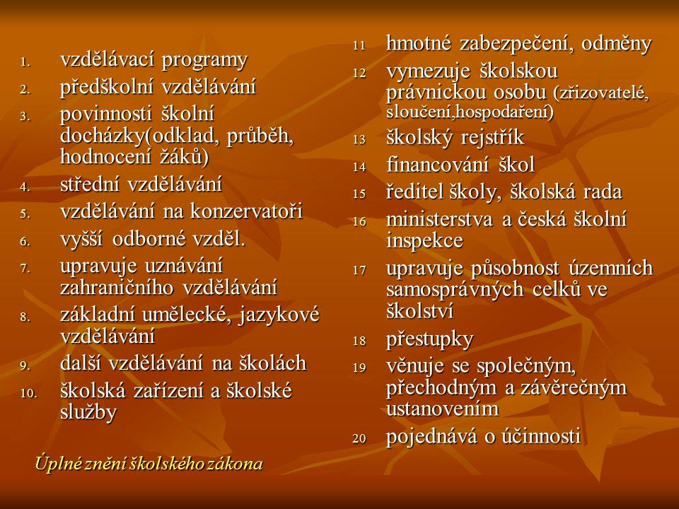 1. vzdělávací programy 2. předškolní vzdělávání 3. povinnosti školní docházky(odklad, průběh, hodnocení žáků) 4. střední vzdělávání 5. vzdělávání na k