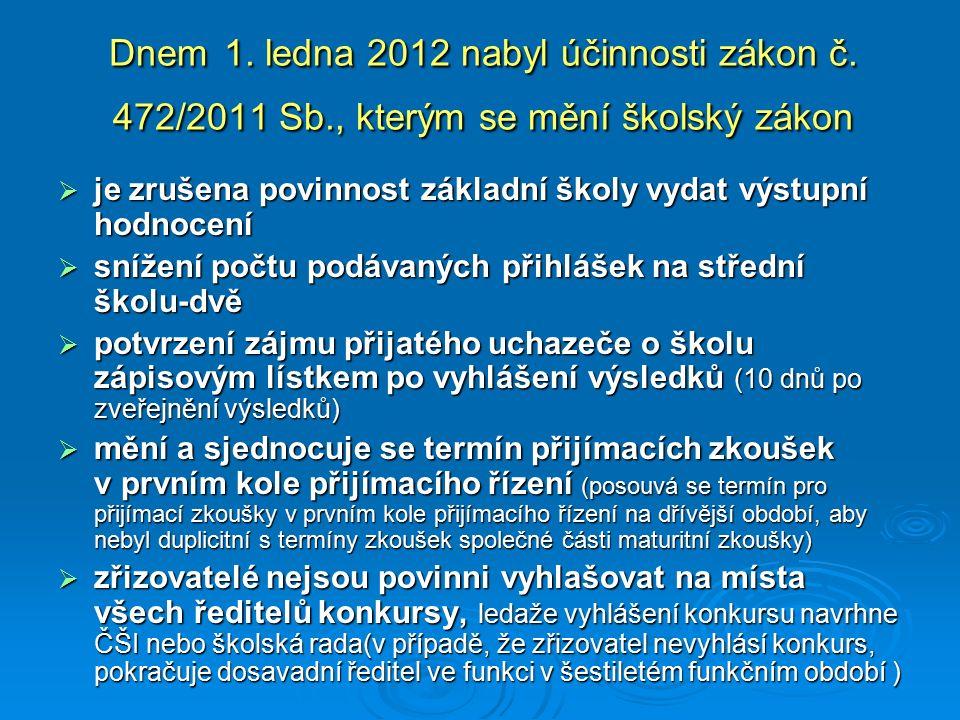 Dnem 1. ledna 2012 nabyl účinnosti zákon č. 472/2011 Sb., kterým se mění školský zákon  je zrušena povinnost základní školy vydat výstupní hodnocení