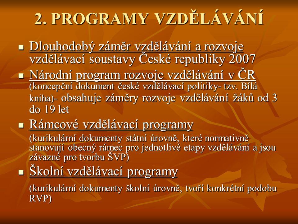 2. PROGRAMY VZDĚLÁVÁNÍ Dlouhodobý záměr vzdělávání a rozvoje vzdělávací soustavy České republiky 2007 Dlouhodobý záměr vzdělávání a rozvoje vzdělávací