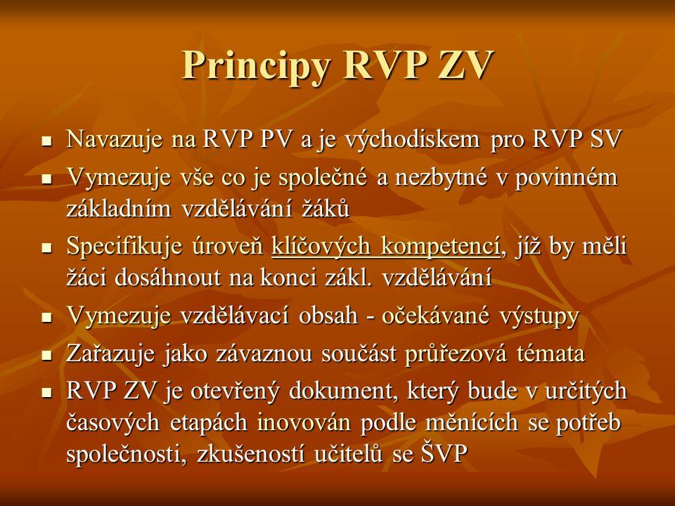 Principy RVP ZV Navazuje na RVP PV a je východiskem pro RVP SV Navazuje na RVP PV a je východiskem pro RVP SV Vymezuje vše co je společné a nezbytné v