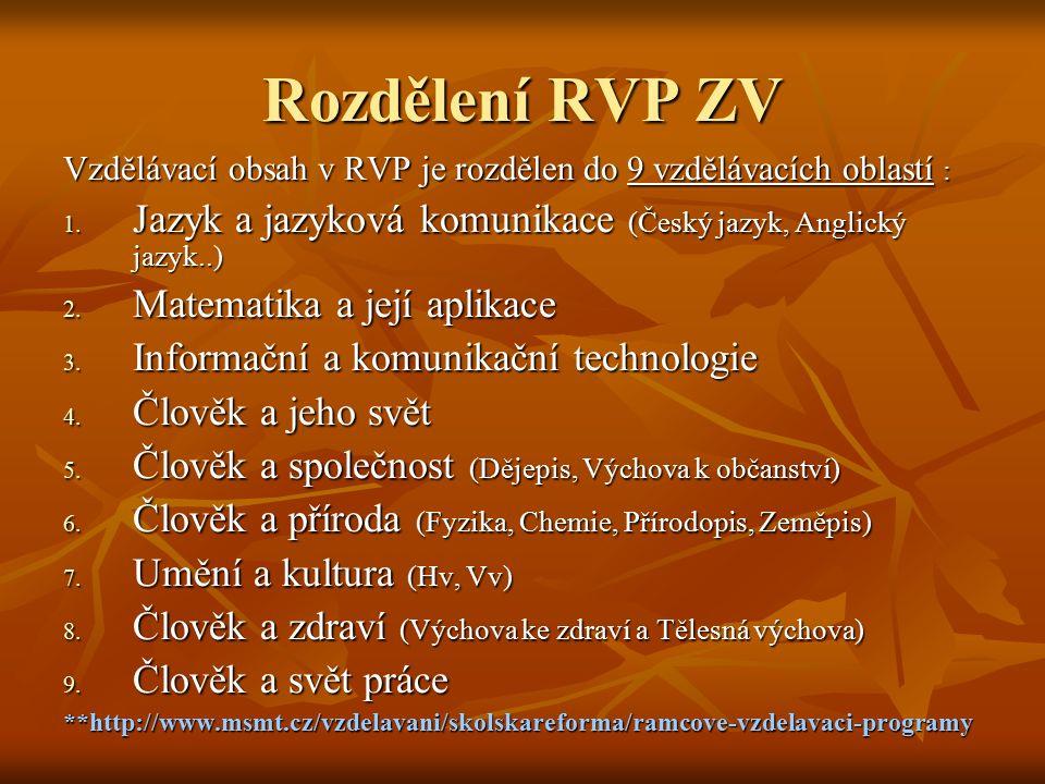 Rozdělení RVP ZV Vzdělávací obsah v RVP je rozdělen do 9 vzdělávacích oblastí : 1. Jazyk a jazyková komunikace (Český jazyk, Anglický jazyk..) 2. Mate