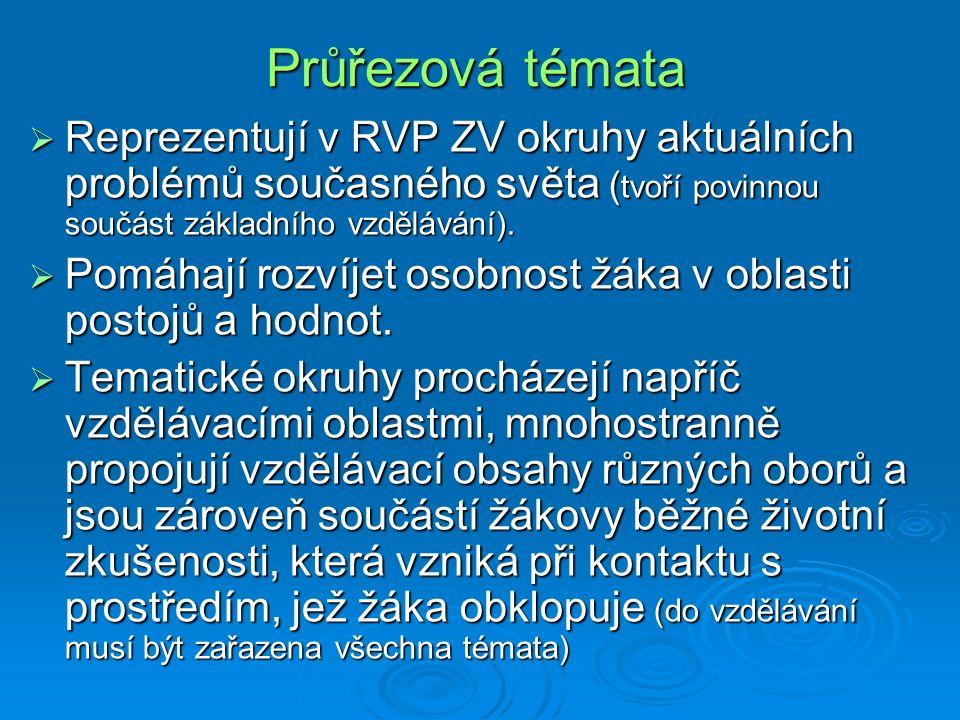 Průřezová témata  Reprezentují v RVP ZV okruhy aktuálních problémů současného světa ( tvoří povinnou součást základního vzdělávání).  Pomáhají rozví