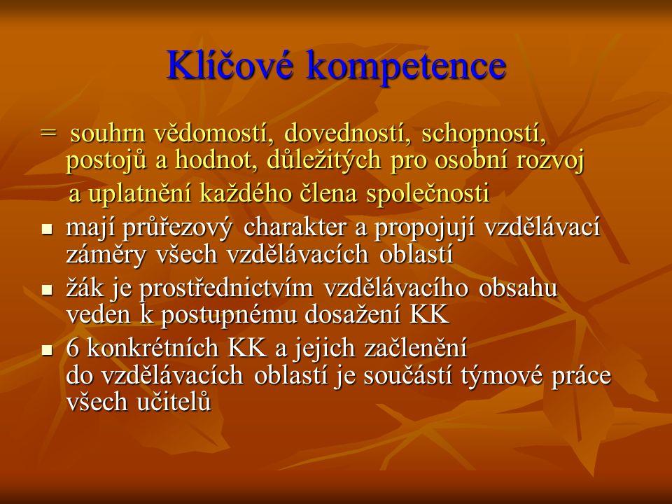Klíčové kompetence = souhrn vědomostí, dovedností, schopností, postojů a hodnot, důležitých pro osobní rozvoj a uplatnění každého člena společnosti a