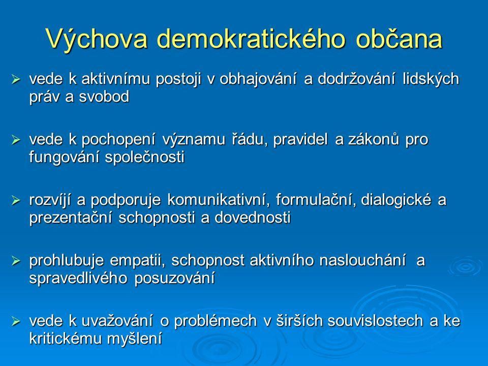Výchova demokratického občana  vede k aktivnímu postoji v obhajování a dodržování lidských práv a svobod  vede k pochopení významu řádu, pravidel a
