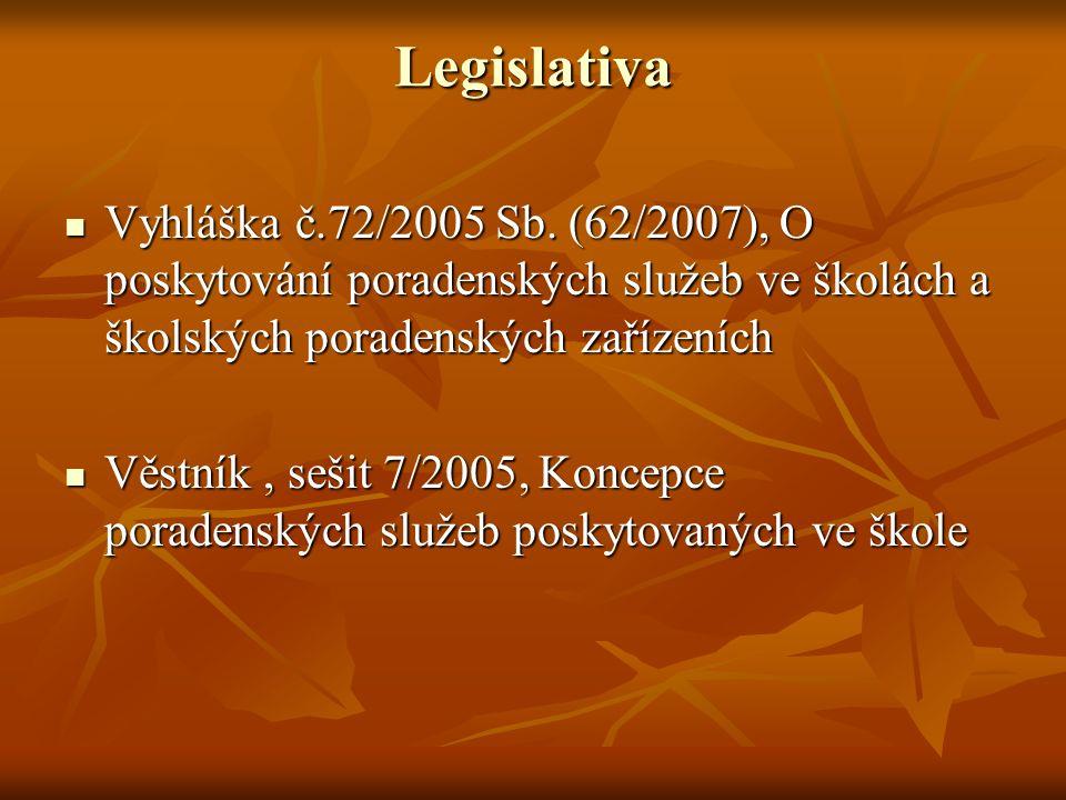 Legislativa Vyhláška č.72/2005 Sb. (62/2007), O poskytování poradenských služeb ve školách a školských poradenských zařízeních Vyhláška č.72/2005 Sb.