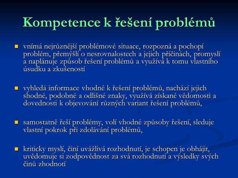 Kompetence k řešení problémů vnímá nejrůznější problémové situace, rozpozná a pochopí problém, přemýšlí o nesrovnalostech a jejich příčinách, promyslí