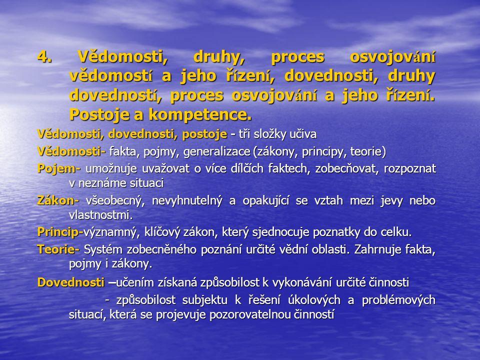 4. Vědomosti, druhy, proces osvojov á n í vědomost í a jeho ř í zen í, dovednosti, druhy dovednost í, proces osvojov á n í a jeho ř í zen í. Postoje a
