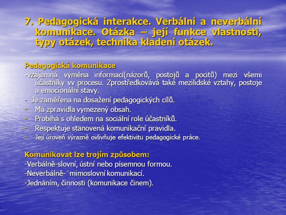 7. Pedagogická interakce. Verbální a neverbální komunikace. Otázka – její funkce vlastnosti, typy otázek, technika kladení otázek. Pedagogická komunik