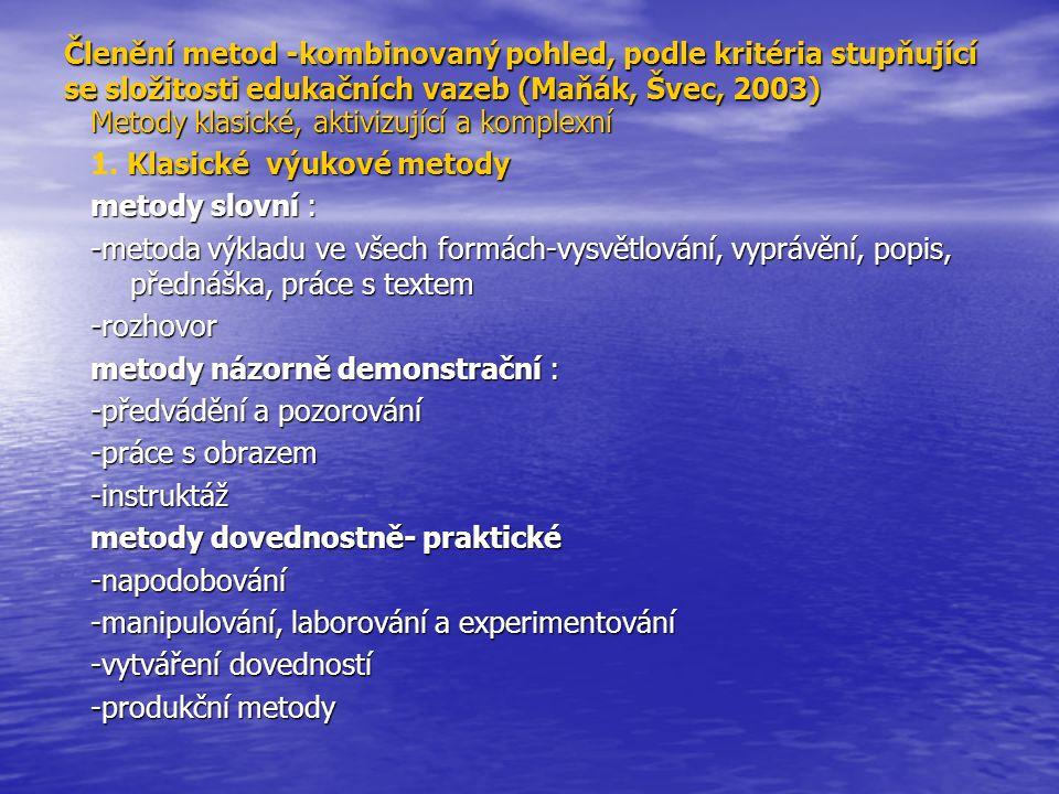 Členění metod -kombinovaný pohled, podle kritéria stupňující se složitosti edukačních vazeb (Maňák, Švec, 2003) Metody klasické, aktivizující a komple