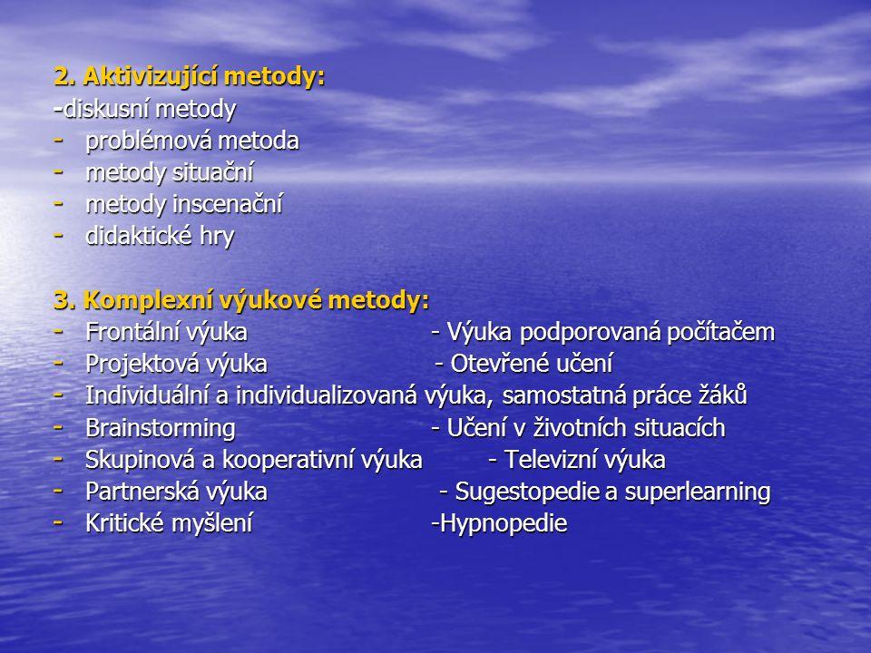 2. Aktivizující metody: -diskusní metody - problémová metoda - metody situační - metody inscenační - didaktické hry 3. Komplexní výukové metody: - Fro