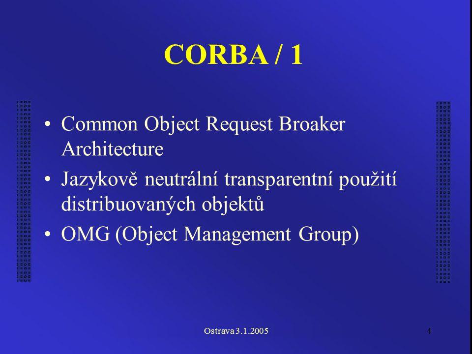 Ostrava 3.1.20054 CORBA / 1 Common Object Request Broaker Architecture Jazykově neutrální transparentní použití distribuovaných objektů OMG (Object Ma