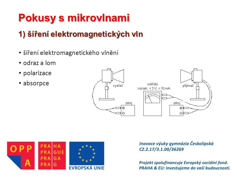 Pokusy s mikrovlnami 1) šíření elektromagnetických vln šíření elektromagnetického vlnění odraz a lom polarizace absorpce