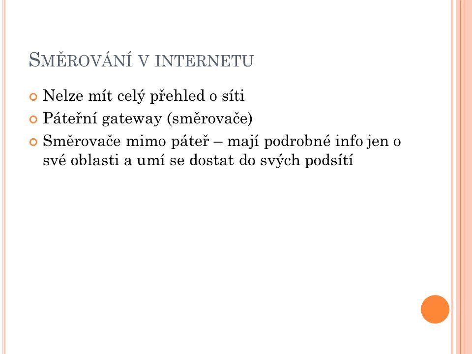 S MĚROVÁNÍ V INTERNETU Nelze mít celý přehled o síti Páteřní gateway (směrovače) Směrovače mimo páteř – mají podrobné info jen o své oblasti a umí se dostat do svých podsítí