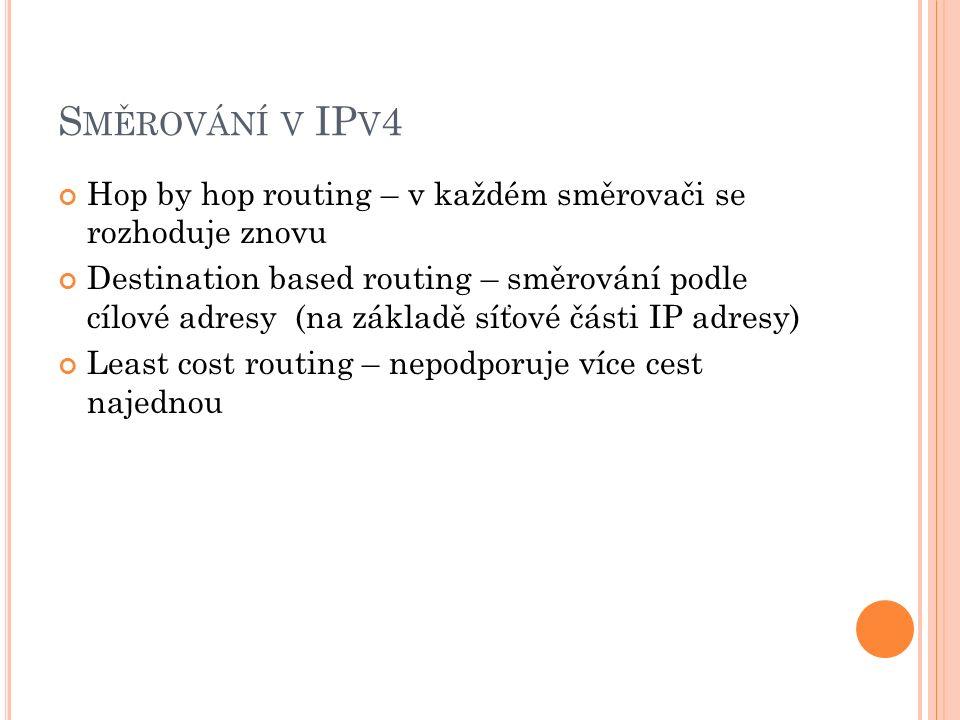 S MĚROVÁNÍ V IP V 4 Hop by hop routing – v každém směrovači se rozhoduje znovu Destination based routing – směrování podle cílové adresy (na základě síťové části IP adresy) Least cost routing – nepodporuje více cest najednou