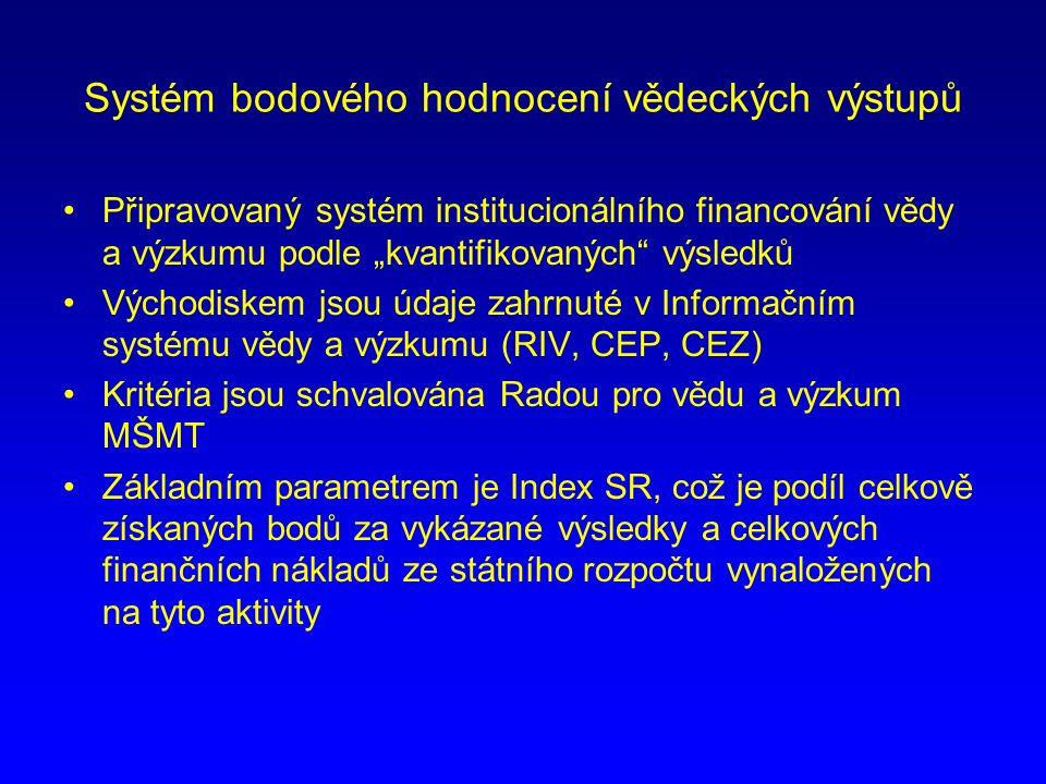 """Systém bodového hodnocení vědeckých výstupů Připravovaný systém institucionálního financování vědy a výzkumu podle """"kvantifikovaných výsledků Východiskem jsou údaje zahrnuté v Informačním systému vědy a výzkumu (RIV, CEP, CEZ) Kritéria jsou schvalována Radou pro vědu a výzkum MŠMT Základním parametrem je Index SR, což je podíl celkově získaných bodů za vykázané výsledky a celkových finančních nákladů ze státního rozpočtu vynaložených na tyto aktivity"""