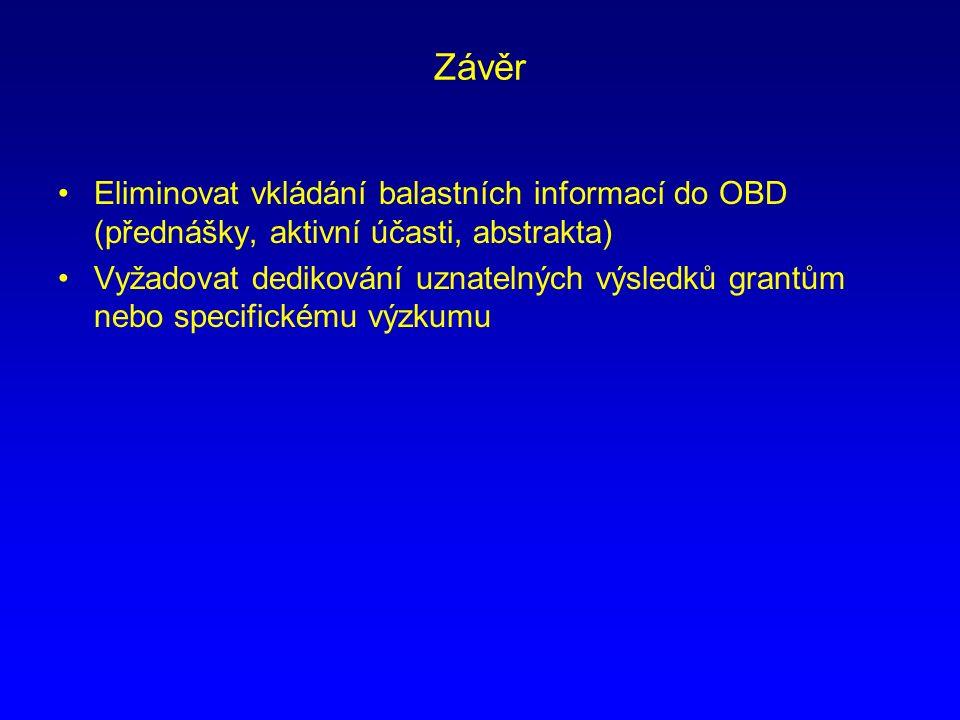 Závěr Eliminovat vkládání balastních informací do OBD (přednášky, aktivní účasti, abstrakta) Vyžadovat dedikování uznatelných výsledků grantům nebo specifickému výzkumu