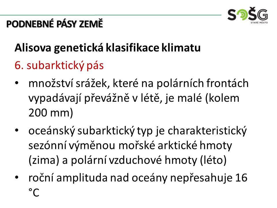 PODNEBNÉ PÁSY ZEMĚ Alisova genetická klasifikace klimatu 6. subarktický pás množství srážek, které na polárních frontách vypadávají převážně v létě, j