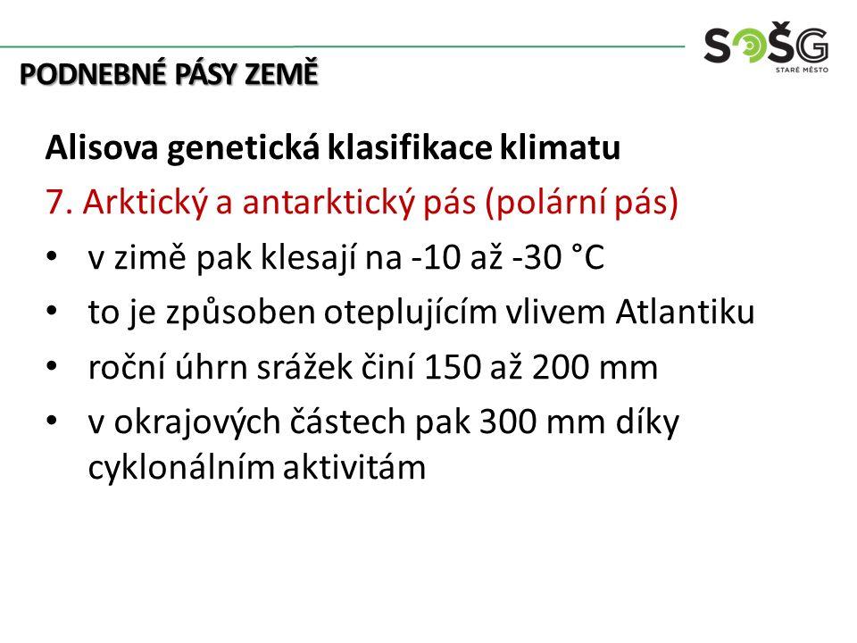 PODNEBNÉ PÁSY ZEMĚ Alisova genetická klasifikace klimatu 7. Arktický a antarktický pás (polární pás) v zimě pak klesají na -10 až -30 °C to je způsobe
