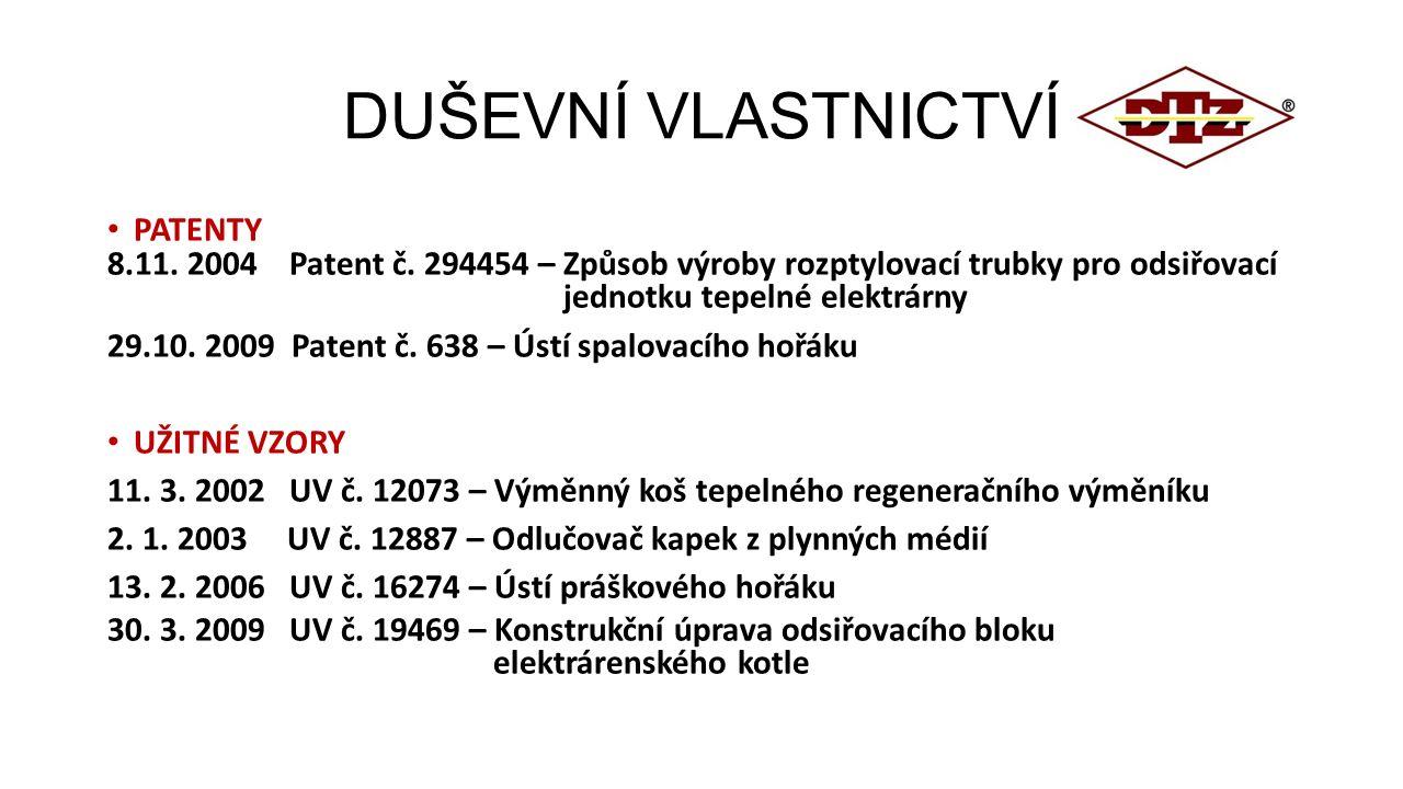 DUŠEVNÍ VLASTNICTVÍ PATENTY 8.11. 2004 Patent č. 294454 – Způsob výroby rozptylovací trubky pro odsiřovací jednotku tepelné elektrárny 29.10. 2009 Pat
