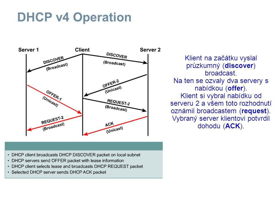 DHCP v4 Operation Klient na začátku vyslal průzkumný (discover) broadcast.