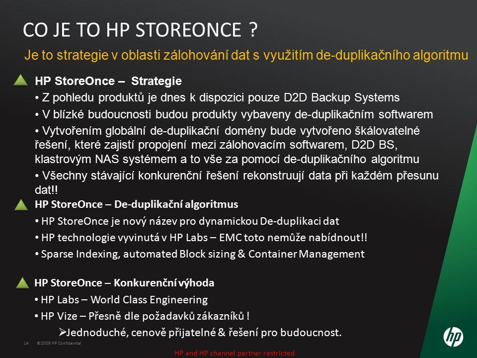 ©2009 HP Confidential14 CO JE TO HP STOREONCE ? Je to strategie v oblasti zálohování dat s využitím de-duplikačního algoritmu HP StoreOnce – Strategie