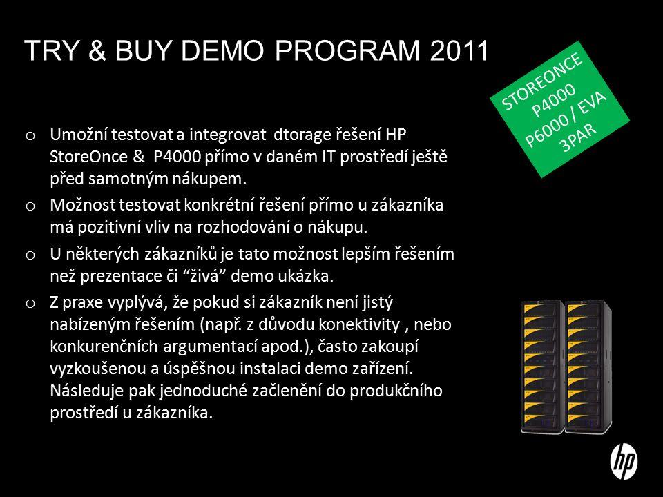TRY & BUY DEMO PROGRAM 2011 o Umožní testovat a integrovat dtorage řešení HP StoreOnce & P4000 přímo v daném IT prostředí ještě před samotným nákupem.