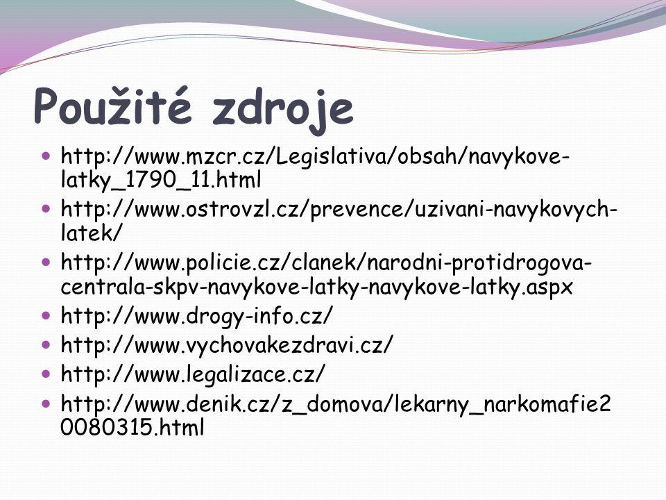 Použité zdroje http://www.mzcr.cz/Legislativa/obsah/navykove- latky_1790_11.html http://www.ostrovzl.cz/prevence/uzivani-navykovych- latek/ http://www.policie.cz/clanek/narodni-protidrogova- centrala-skpv-navykove-latky-navykove-latky.aspx http://www.drogy-info.cz/ http://www.vychovakezdravi.cz/ http://www.legalizace.cz/ http://www.denik.cz/z_domova/lekarny_narkomafie2 0080315.html
