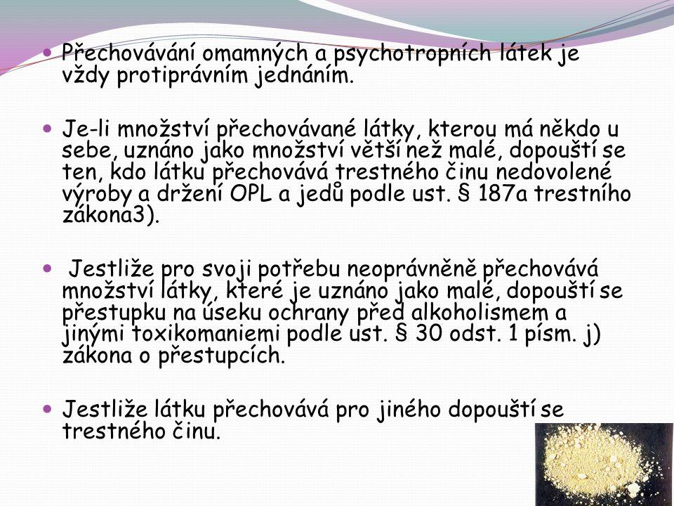 Přechovávání omamných a psychotropních látek je vždy protiprávním jednáním.