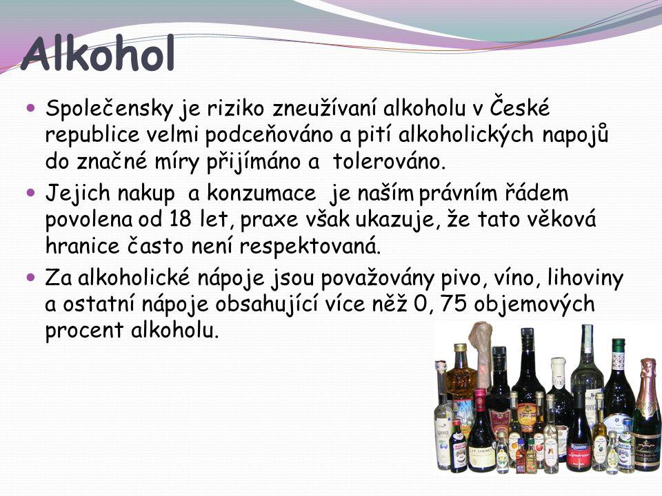 Alkohol Společensky je riziko zneužívaní alkoholu v České republice velmi podceňováno a pití alkoholických napojů do značné míry přijímáno a tolerováno.