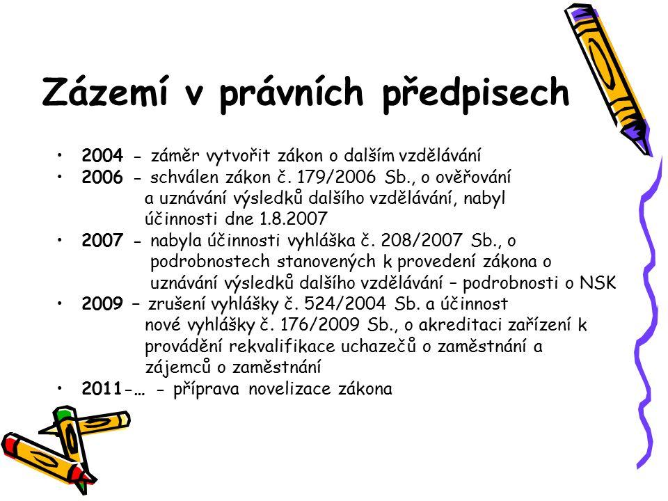 Zázemí v právních předpisech 2004 - záměr vytvořit zákon o dalším vzdělávání 2006 - schválen zákon č. 179/2006 Sb., o ověřování a uznávání výsledků da