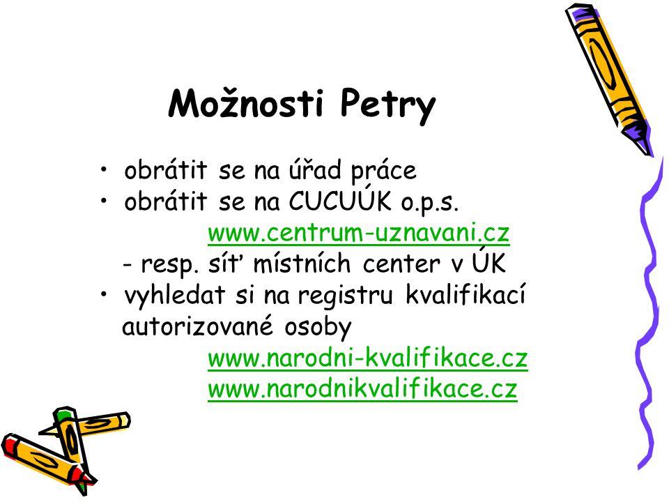 Možnosti Petry obrátit se na úřad práce obrátit se na CUCUÚK o.p.s. www.centrum-uznavani.cz - resp. síť místních center v ÚK vyhledat si na registru k