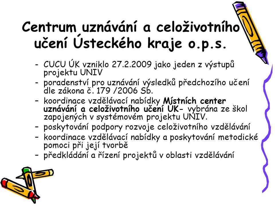 Centrum uznávání a celoživotního učení Ústeckého kraje o.p.s. -CUCU ÚK vzniklo 27.2.2009 jako jeden z výstupů projektu UNIV -poradenství pro uznávání