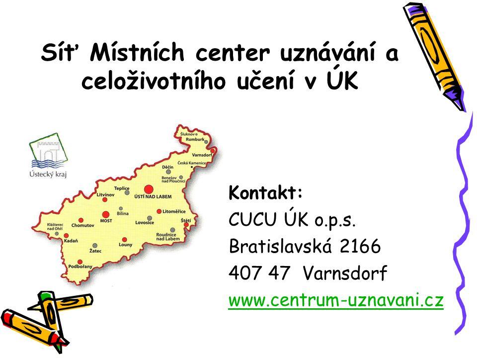 Síť Místních center uznávání a celoživotního učení v ÚK Kontakt: CUCU ÚK o.p.s. Bratislavská 2166 407 47 Varnsdorf www.centrum-uznavani.cz