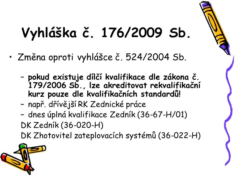 Vyhláška č. 176/2009 Sb. Změna oproti vyhlášce č. 524/2004 Sb. –pokud existuje dílčí kvalifikace dle zákona č. 179/2006 Sb., lze akreditovat rekvalifi