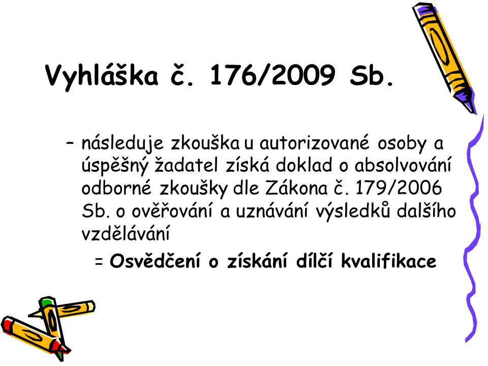 Vyhláška č. 176/2009 Sb. –následuje zkouška u autorizované osoby a úspěšný žadatel získá doklad o absolvování odborné zkoušky dle Zákona č. 179/2006 S