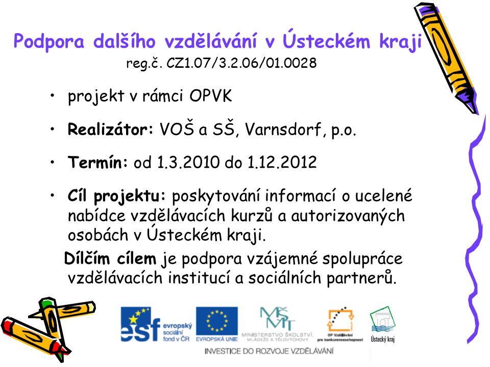 Podpora dalšího vzdělávání v Ústeckém kraji reg.č. CZ1.07/3.2.06/01.0028 projekt v rámci OPVK Realizátor: VOŠ a SŠ, Varnsdorf, p.o. Termín: od 1.3.201