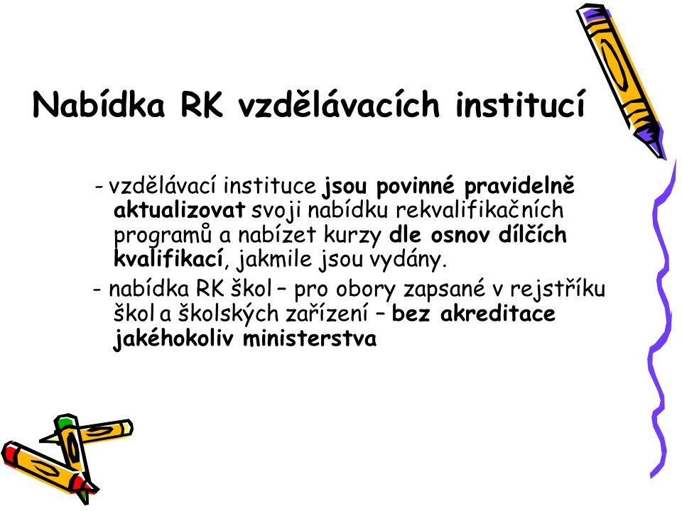 Nabídka RK vzdělávacích institucí - vzdělávací instituce jsou povinné pravidelně aktualizovat svoji nabídku rekvalifikačních programů a nabízet kurzy dle osnov dílčích kvalifikací, jakmile jsou vydány.