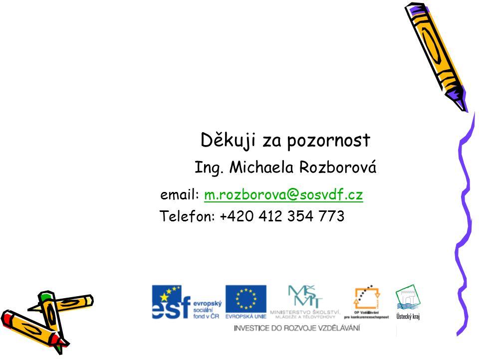 Děkuji za pozornost Ing. Michaela Rozborová email: m.rozborova@sosvdf.czm.rozborova@sosvdf.cz Telefon: +420 412 354 773