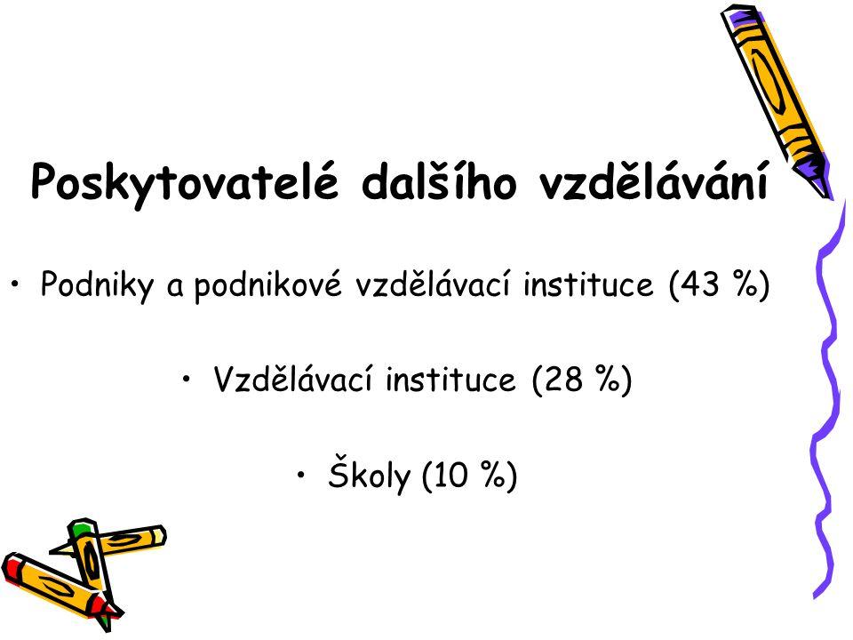 Poskytovatelé dalšího vzdělávání Podniky a podnikové vzdělávací instituce (43 %) Vzdělávací instituce (28 %) Školy (10 %)
