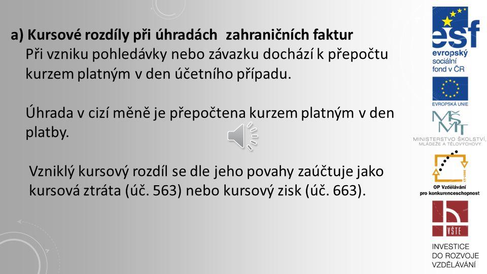 Pro přepočet cizí měny na českou měnu ke dni uskutečnění účetního případu může účetní jednotka používat: denních kurzů platných v den uskutečnění účet